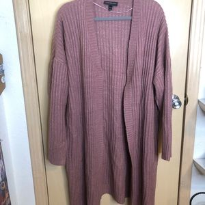 Plus Size Dusty Rose Cable Knit Duster